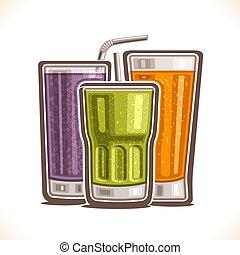 ベクトル, すがすがしい, イラスト, 飲み物