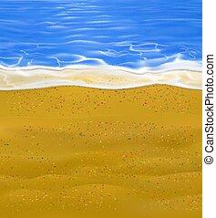 ベクトル, たくさん, 現実的, 小さい, 浜, stones., トロピカル, 多彩, 日当たりが良い, 部分, 海, わずかしか, 隔離された, 夏, 砂, coast.