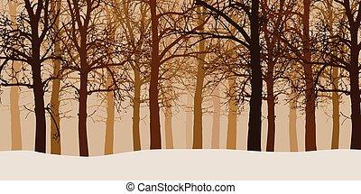 ベクトル, なしで, 葉, 冬, 霧, イラスト, 森林, 雪