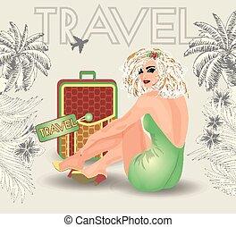 ベクトル, の上, 旅行, 夏, ピン, 女の子