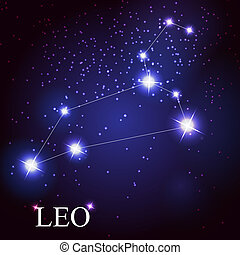 ベクトル, の, ∥, しし座, 黄道帯, 印, の, ∥, 美しい, 明るい, 星, 上に, ∥, 背景, の,...