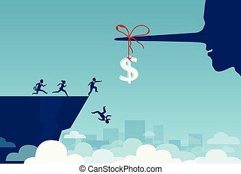 ベクトル, の, 実業家のグループ, 動くこと, ∥に向かって∥, ドル, 印, 結ばれた, へ, a, うそつき, 長い 鼻, そして, 落下, a, 崖