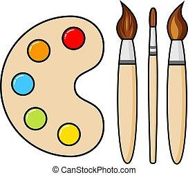 ベクトル, ほんの少し, 木製である, ブラシ, ペンキ, 芸術, パレット