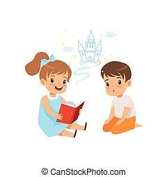 ベクトル, わずかしか, 子供, 妖精, 女の子, ファンタジー, 男の子, 想像力, 尾, すばらしい, イラスト, 背景, 美しい, 白, 読む本