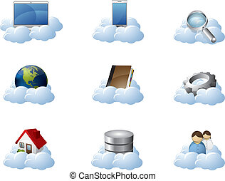 ベクトル, アイコン, ∥ために∥, 雲, 計算