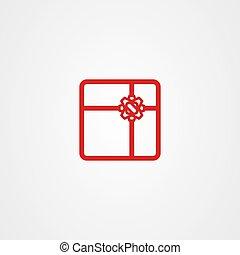 ベクトル, アイコン, アウトライン, 贈り物, デザイン, スタイル