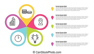 ベクトル, アイコン, ステップ, infographic, 5, テンプレート, ポインター