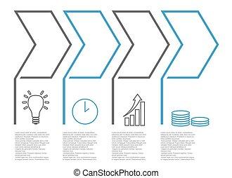 ベクトル, アイコン, ステップ, infographic, 5, テンプレート, lineart