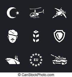 ベクトル, アイコン, セット, の, トルコ語, army.