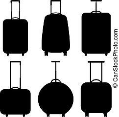 ベクトル, アイコン, セット, イラスト, スーツケース