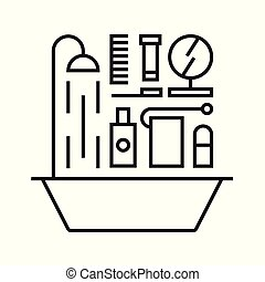 ベクトル, アイコン, セット, イラスト, 浴室