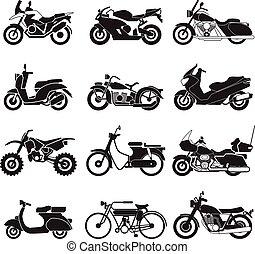 ベクトル, アイコン, セット, オートバイ, イラスト