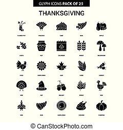 ベクトル, アイコン, セット, glyph, 感謝祭