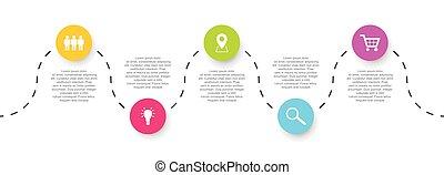 ベクトル, アイコン, タイムライン, ステップ, infographic, 5, テンプレート