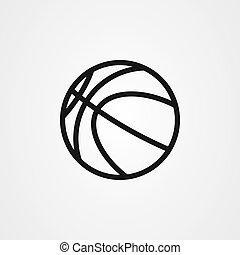 ベクトル, アイコン, バスケットボール, アウトライン, デザイン, スタイル