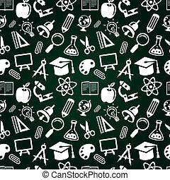 ベクトル, アイコン, パターン, seamless, 教育