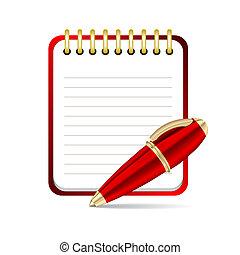 ベクトル, アイコン, ペン, メモ用紙, 赤