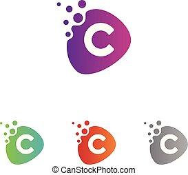 ベクトル, アイコン, モビール, デザイン, 手紙c, 技術, 点, app