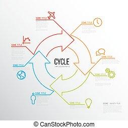 ベクトル, アイコン, ライン, infographic, テンプレート, 作られた, 周期