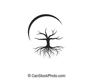 ベクトル, アイコン, ロゴ, テンプレート, 木の 葉, なしで