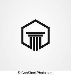 ベクトル, アイコン, ロゴ, 法律, デザイン