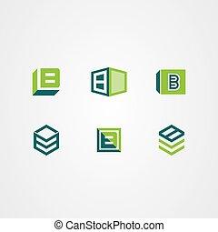 ベクトル, アイコン, ロゴ, 箱, 3d, セット