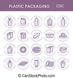 ベクトル, アイコン, 使い捨て可能, びん, プラスチック, 包装, dishware, スプレーヤー, 線, 容器