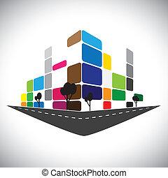ベクトル, アイコン, -, 建物, の, 家, アパート, ∥あるいは∥, 極度の 市場, ∥あるいは∥, オフィス, space., これ, グラフィック, 缶, また, 表しなさい, 都市, コマーシャル, 構造, ホテル, 極度, 中心, 銀行, スカイライン, 超高層ビル, ∥など∥