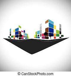 ベクトル, アイコン, -, 建物, の, 家, アパート, ∥あるいは∥, 極度の 市場, ∥あるいは∥, offi