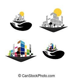 ベクトル, アイコン, -, 建物, の, 家, アパート, 極度の 市場, ∥あるいは∥, オフィススペース