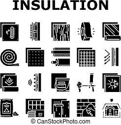 ベクトル, アイコン, 建物, セット, 断熱材, コレクション