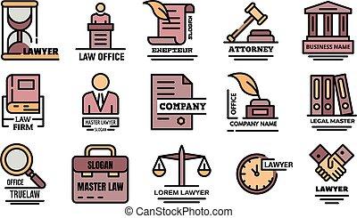 ベクトル, アイコン, 弁護士, 平ら