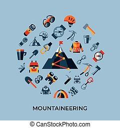 ベクトル, アイコン, 技術, デジタル, 登山