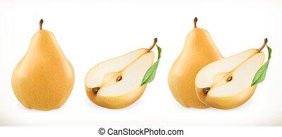ベクトル, アイコン, 甘い, fruit., イラスト, 現実的, pear., set., 3d