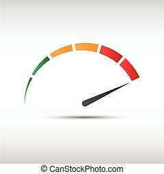 ベクトル, アイコン, 速度計, パフォーマンス, 回転速度計, 色, シンボル, 測定