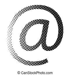 ベクトル, アイコン, 電子メール, 印, halftone, シンボル, design.