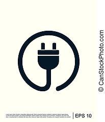 ベクトル, アイコン, 電気である, ロゴ, テンプレート, プラグ, コード, 力