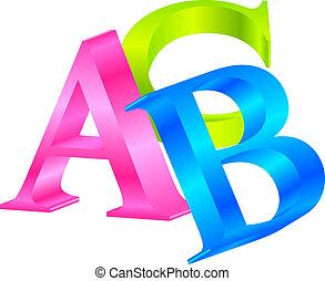 ベクトル, アイコン, abc, カラフルである, 3d
