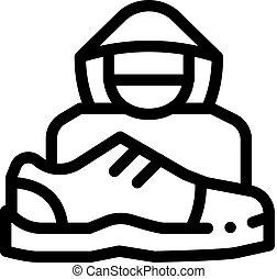 ベクトル, アウトライン, 万引き, 人間, イラスト, 靴, アイコン