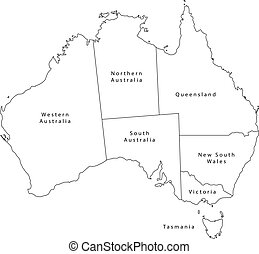 ベクトル, アウトライン, 黒, オーストラリア, 地図, states.