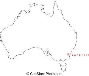 ベクトル, アウトライン, 黒, canberra, オーストラリア, 地図, capital.