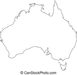ベクトル, アウトライン, 黒, illustration., map., オーストラリア