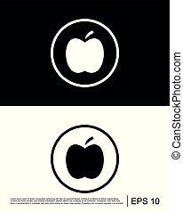 ベクトル, アップル, フルーツ, アイコン