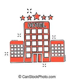 ベクトル, アパート, ビジネス, concept., ホテル, 効果, イラスト, 印, はね返し, pictogram., タワー, 漫画, style., 漫画, アイコン