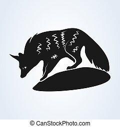 ベクトル, アフリカ。, 背景, 隔離された, 白, 南, イラスト, aardwolf
