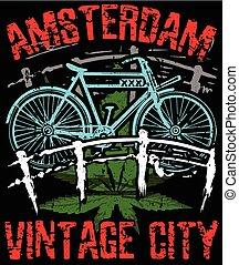 ベクトル, アムステルダム, 写実的な 設計, ポスター