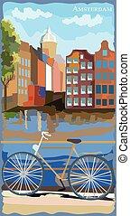 ベクトル, アムステルダム, 自転車, カラフルである