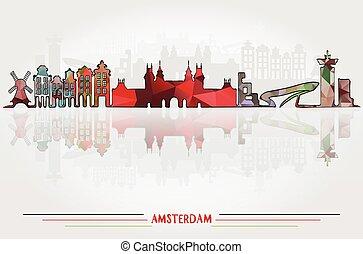 ベクトル, アムステルダム, 都市, 背景