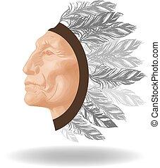 ベクトル, アメリカインディアン, 顔