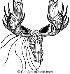 ベクトル, アメリカヘラジカ, illustrati, 頭, 動物